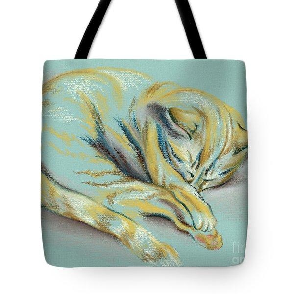 Sleeping Tabby Kitten Tote Bag