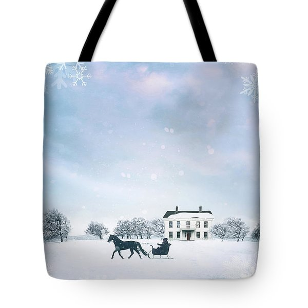 Sleigh With Horse In Snow Winter Scene Tote Bag