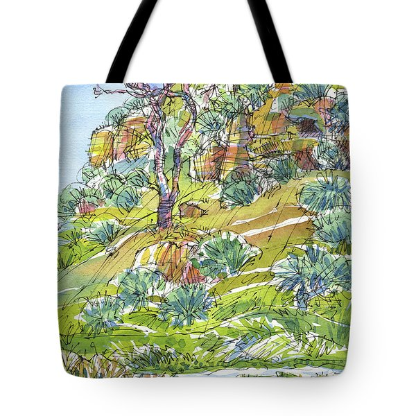 Tote Bag featuring the painting Slope With Cliffs by Judith Kunzle