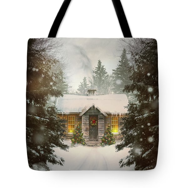 Small Cabin In A Snow Covered Forest Tote Bag