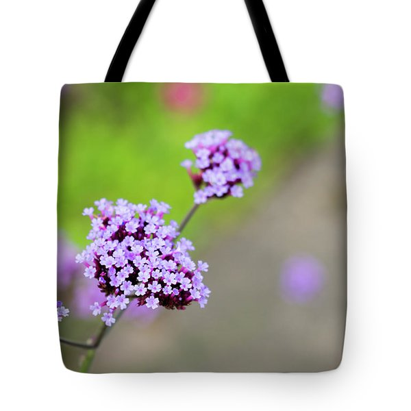 Tote Bag featuring the photograph Small Purple Flowers by Scott Lyons