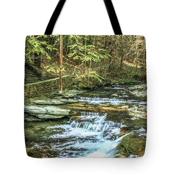 Small Waterfall In Creek And Stone Stairs Tote Bag