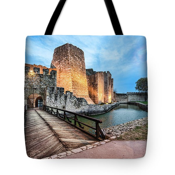 Tote Bag featuring the photograph Smederevo Fortress Gate And Bridge by Milan Ljubisavljevic