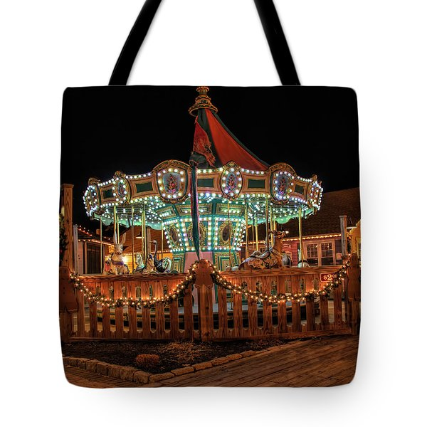 Tote Bag featuring the photograph Smithville Carousel At Night by Kristia Adams