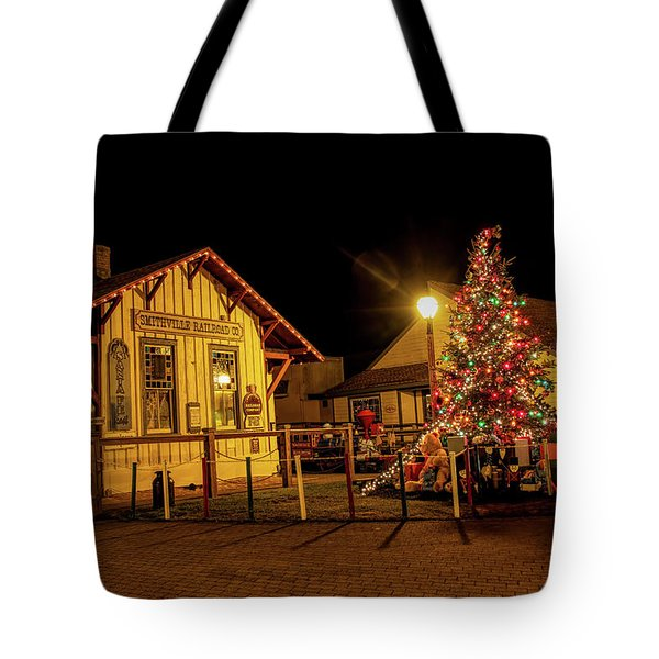 Tote Bag featuring the photograph Smithville Railroad Christmas Tree by Kristia Adams