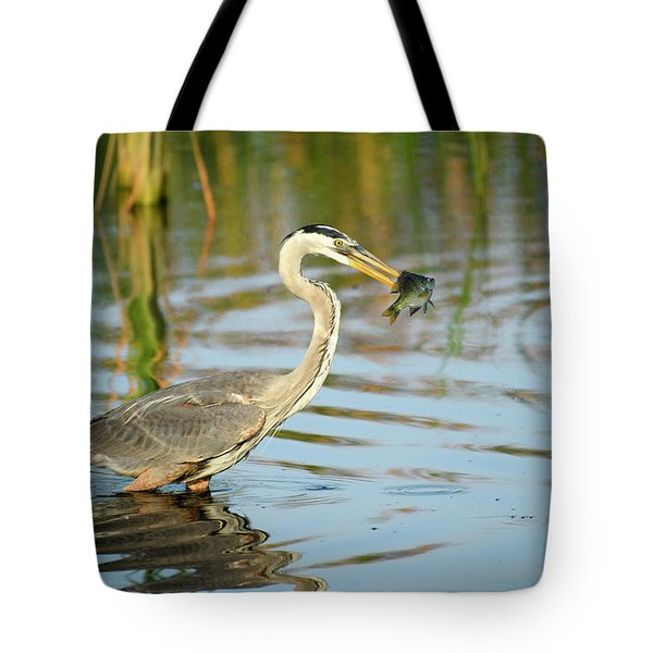 Snack Time For Blue Heron Tote Bag