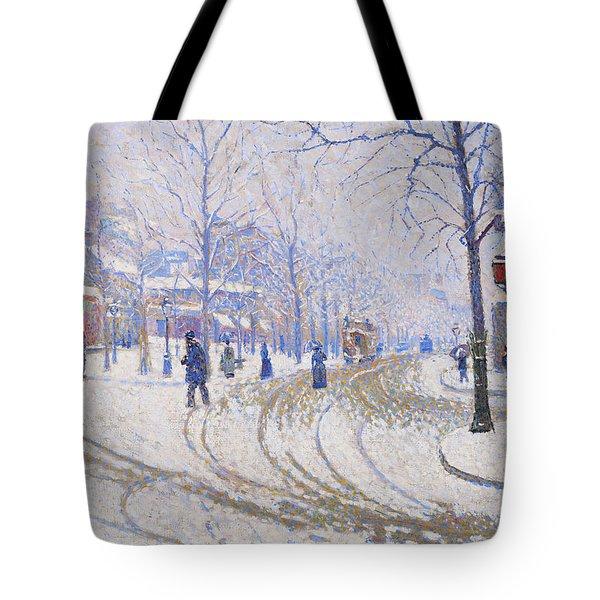 Snow, Boulevard De Clichy, Paris - Digital Remastered Edition Tote Bag