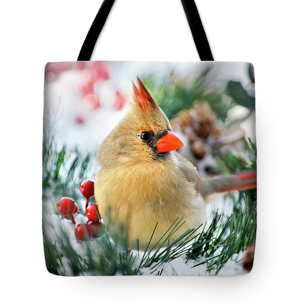 Tote Bag featuring the photograph Snow Cardinal by Christina Rollo