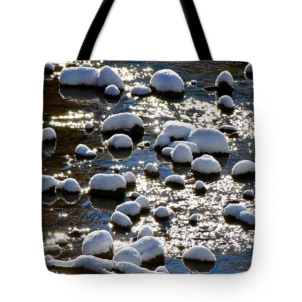 Snow Covered Rocks Tote Bag