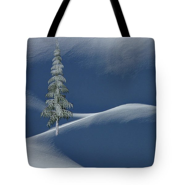 Snow Covered Tree And Mountains Color Tote Bag