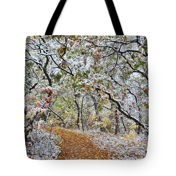 Snow Greets Autumn Tote Bag