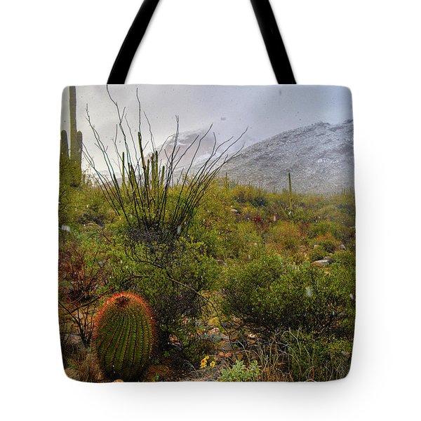 Snow In The Desert Tote Bag