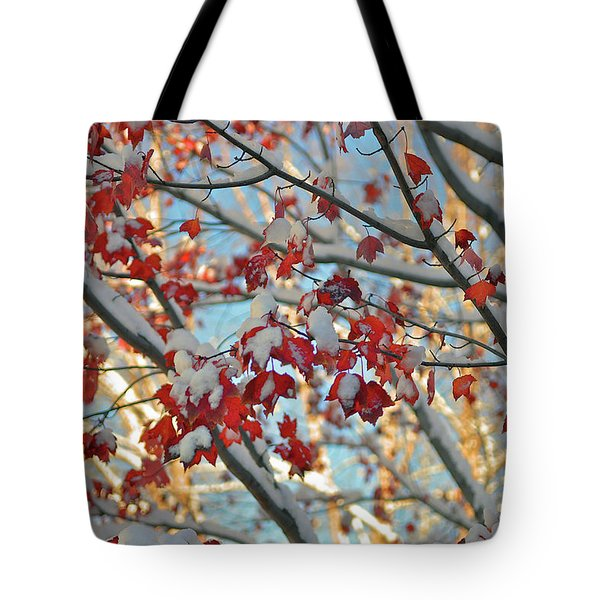 Snow On Maple Leaves Tote Bag