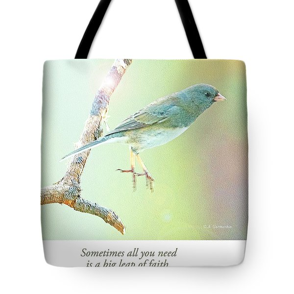 Snowbird Jumps From Tree Branch Tote Bag