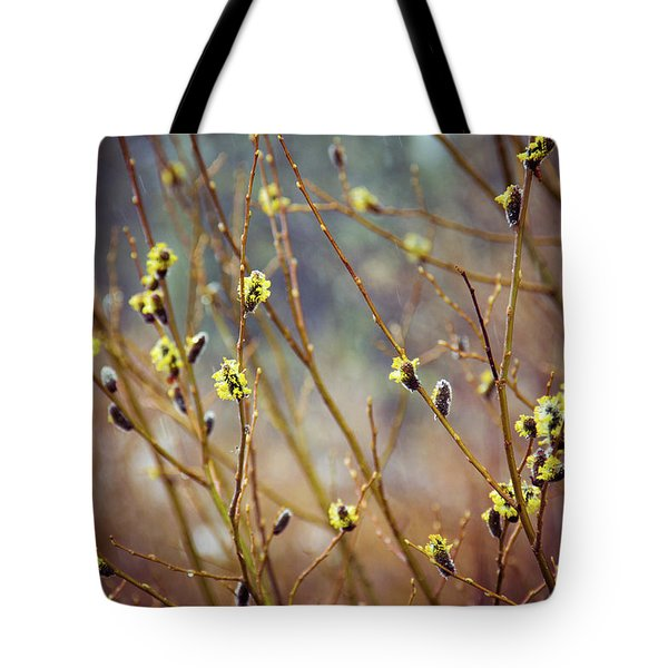Tote Bag featuring the photograph Snowfall On Budding Willows by Laura Roberts