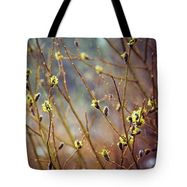 Snowfall On Budding Willows Tote Bag