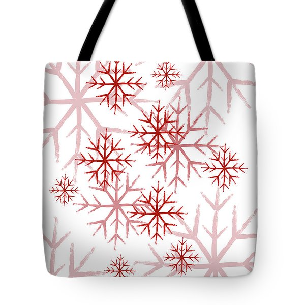 Snowflakes In Red Tote Bag
