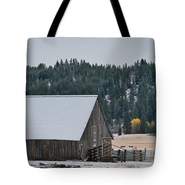 Snowy Barn Yellow Tree Tote Bag