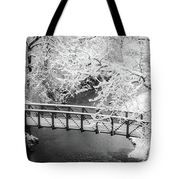 Tote Bag featuring the photograph Snowy Bridge On Mill Creek by Jeff Phillippi