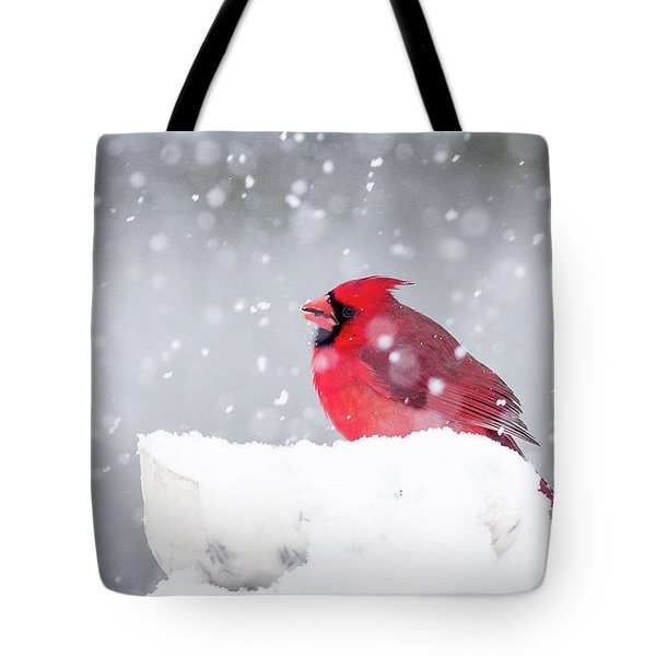 Tote Bag featuring the photograph Snowy Cardinal by Lori Coleman