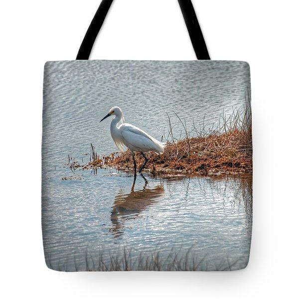 Snowy Egret Hunting A Salt Marsh Tote Bag
