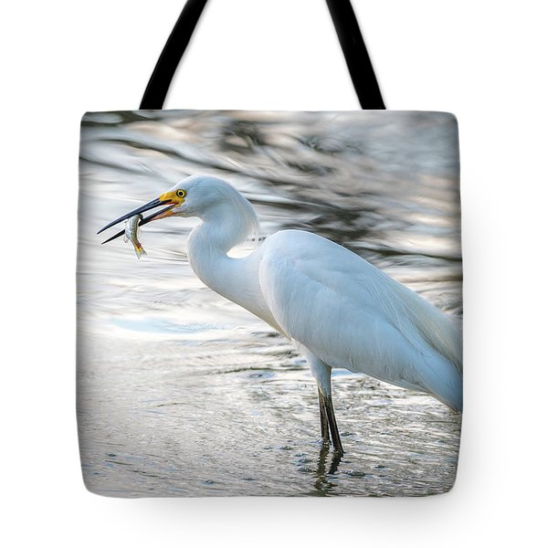 Snowy Egret With Dinner Tote Bag