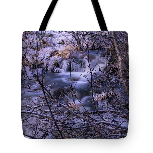 Snowy Forest With Long Exposure Tote Bag
