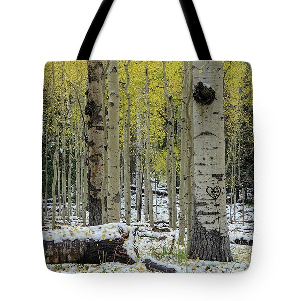 Tote Bag featuring the photograph Snowy Gold Aspen by Gaelyn Olmsted