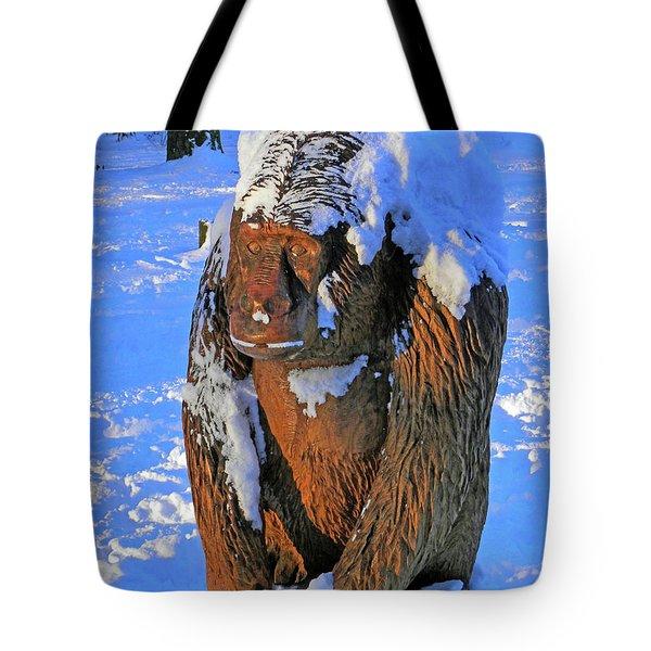 Snowy Gorilla Tote Bag