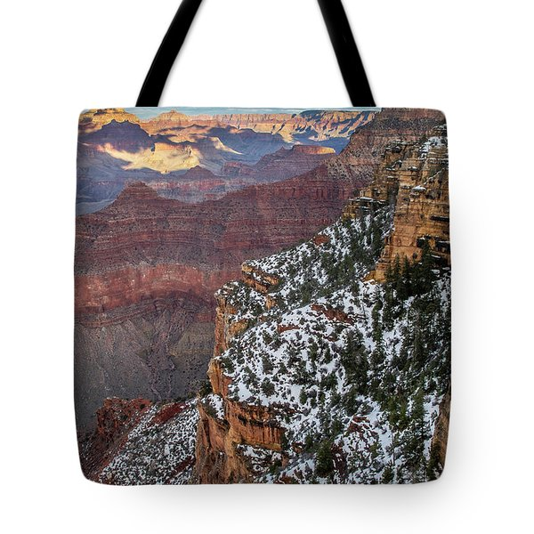 Tote Bag featuring the photograph Snowy Grand Canyon by Matthew Irvin