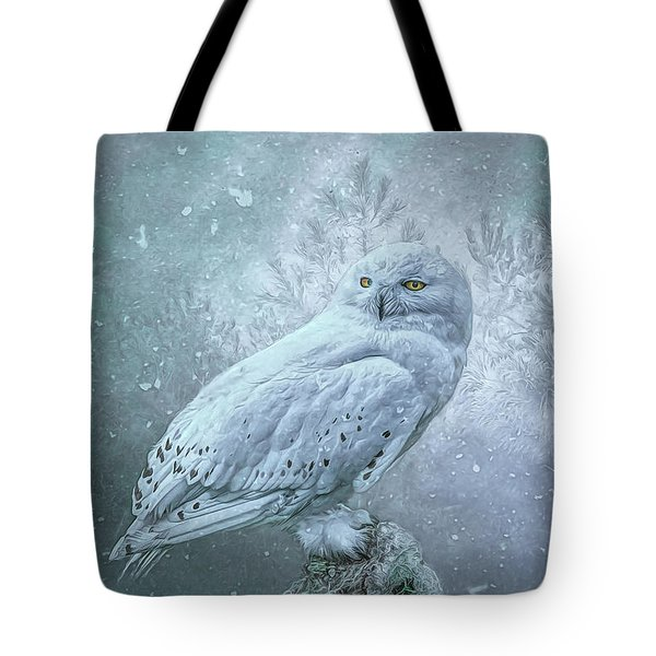 Snowy Owl In Winter Tote Bag
