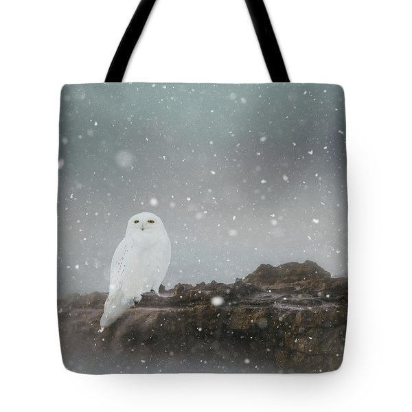 Snowy Owl On A Ledge Tote Bag