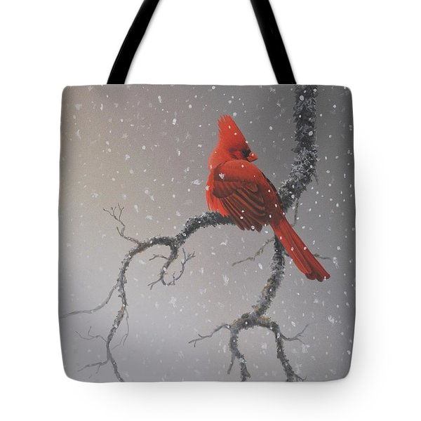 Snowy Perch Tote Bag