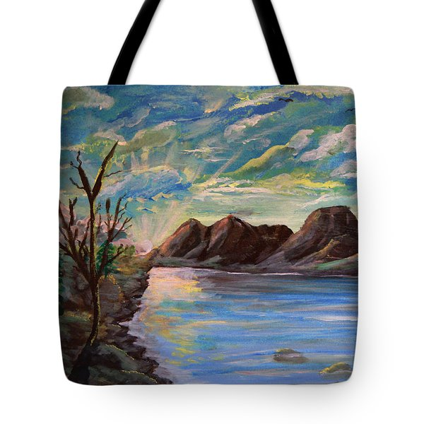 Snowy Range And Lookout Lake Tote Bag