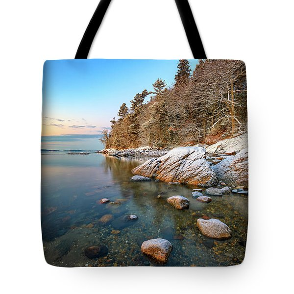 Snowy Shoreline In Wolfe's Neck Woods Tote Bag