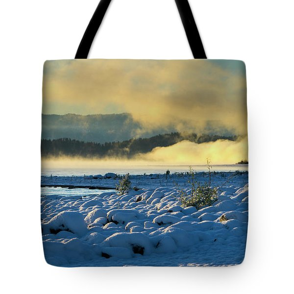 Snowy Shoreline Sunrise Tote Bag