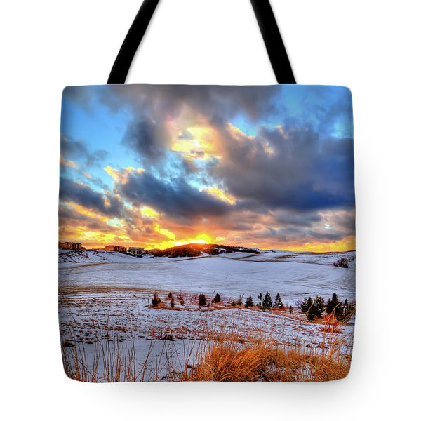 Tote Bag featuring the photograph Snowy Sunset by David Patterson