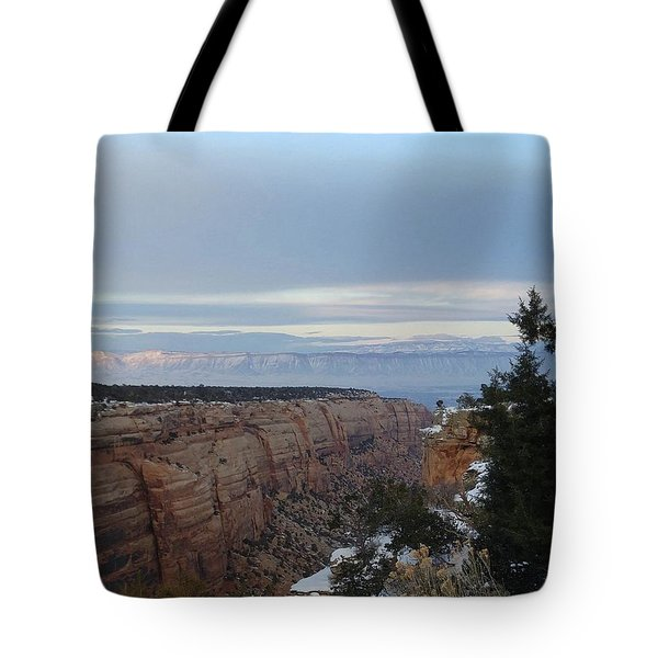 Snowy Sunset Tote Bag