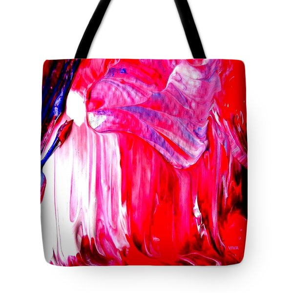 Tote Bag featuring the painting Soaring In Red Abstract Maha by VIVA Anderson