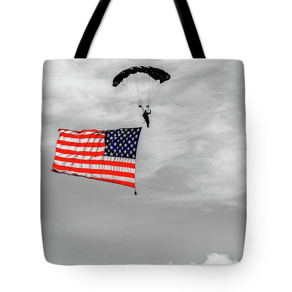 Tote Bag featuring the photograph Socom Flag Jump In Selective Color by Doug Camara