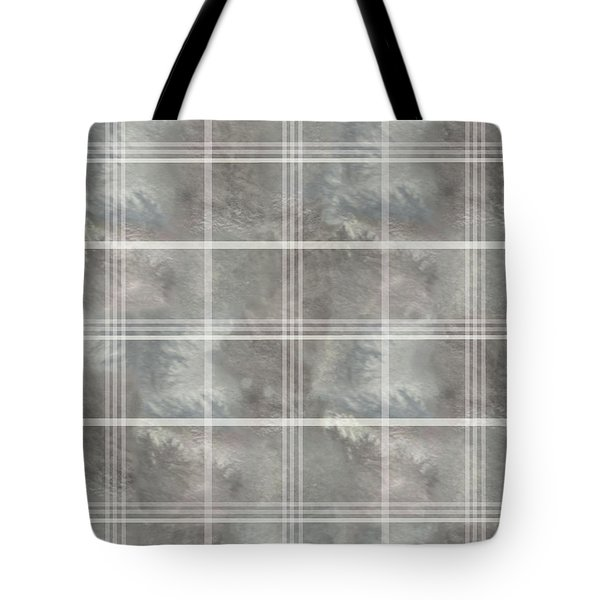 Soft Textured Cream And Blue Plaid Tote Bag