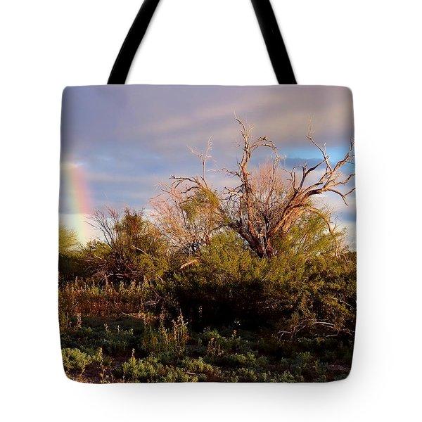 Sonoran Desert Spring Rainbow Tote Bag