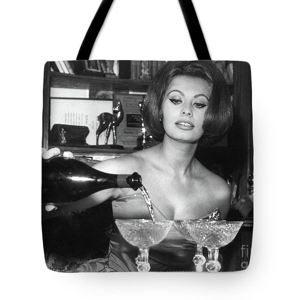 Sophia Loren, Coupe Champagne Glasses Tote Bag