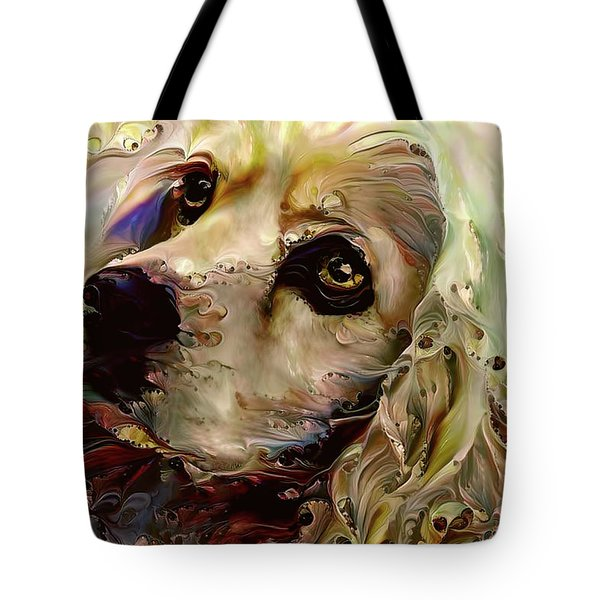 Tote Bag featuring the digital art Soulful Cocker Spaniel by Peggy Collins