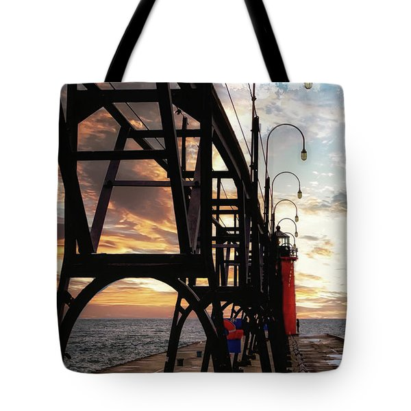 Tote Bag featuring the photograph South Haven Pier Sunset by Lars Lentz