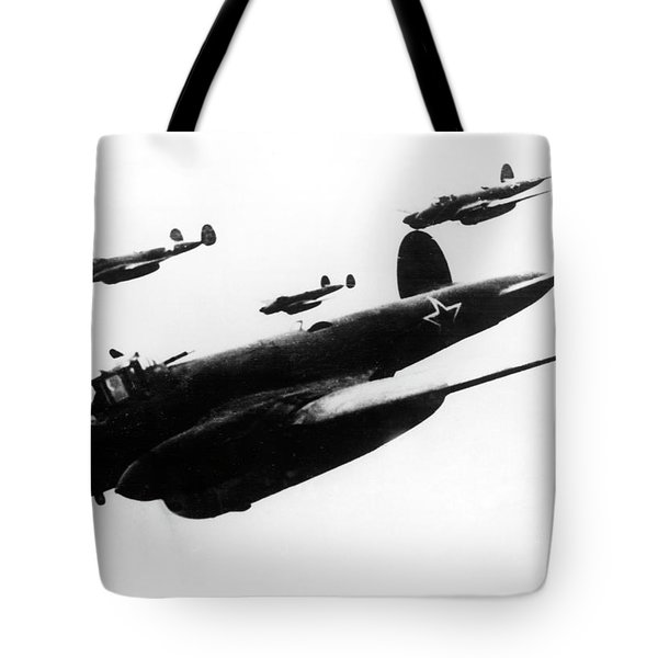 Soviet Dive-bombers Petlyakov-2 Attack Finnish Military Objective, 1939 Tote Bag