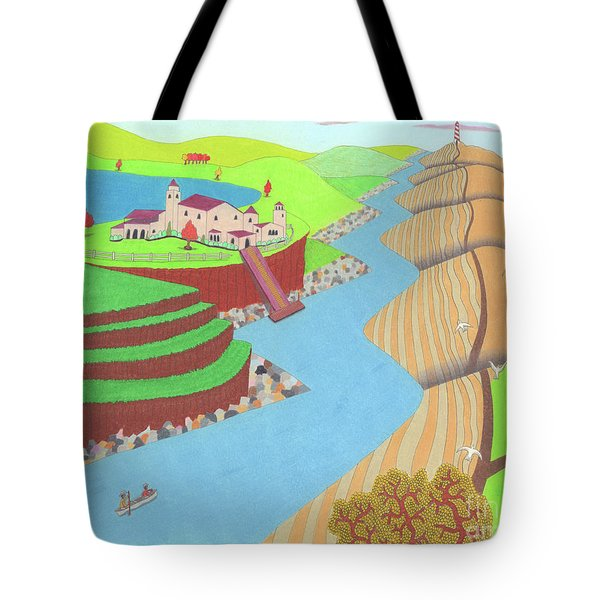 Tote Bag featuring the drawing Spanish Wells by John Wiegand