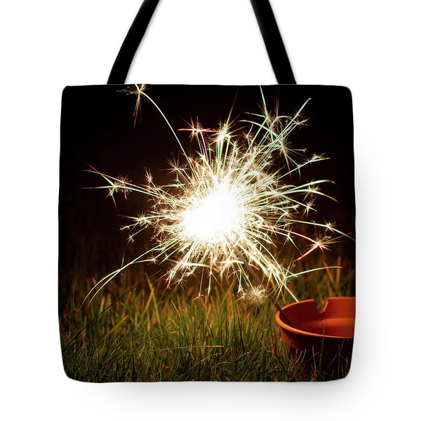Tote Bag featuring the photograph Sparkler In A Plant Pot by Scott Lyons