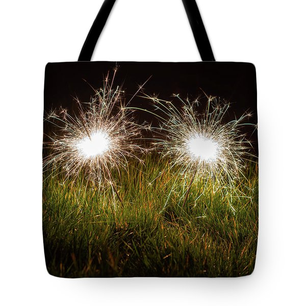 Tote Bag featuring the photograph Sparklers In The Grass by Scott Lyons
