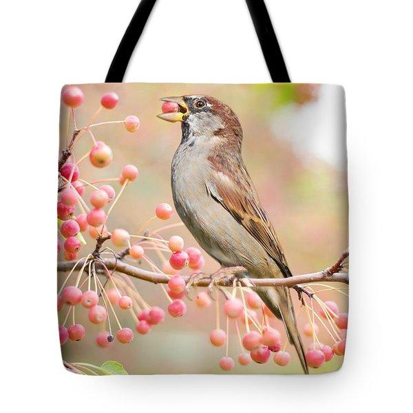 Sparrow Eating Berries Tote Bag